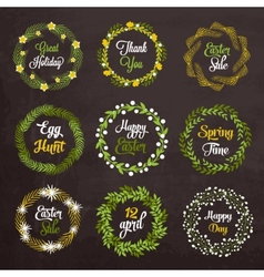 Easter wreaths with plants and flowers on vector image