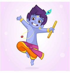 little cartoon krishna with a flute vector image