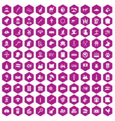 100 pets icons hexagon violet vector