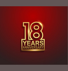 18 years golden anniversary line style isolated vector
