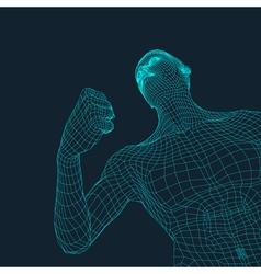 3D Model of Man Polygonal Design Geometric Grid vector
