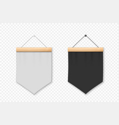 3d realistic blank white and black pennant vector image