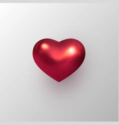 3d red metallic decorative heart vector image