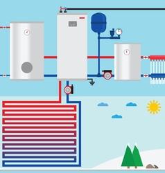Air source heat pump in cottage vector