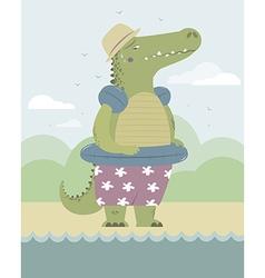 Alligator on the beach vector