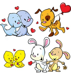 animals celebrate Valentines Day vector image