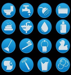 bathroom and toilet icon set gradient style vector image
