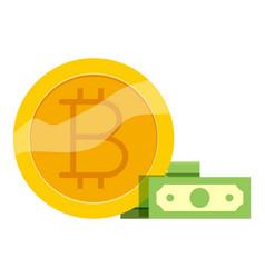 bitcoin trade icon cartoon style vector image vector image