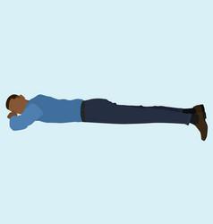 black businessman lying down vector image