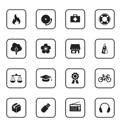 Black flat safety and miscellaneous icon set vector