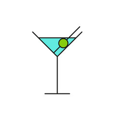 blue cocktail glass thin line icon vector image