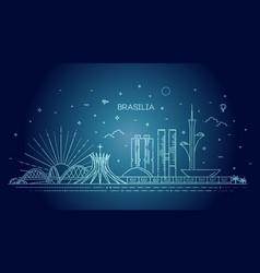 brasilia architecture line skyline vector image