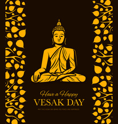 Buddha with bodhi tree leaves vesak day holiday vector
