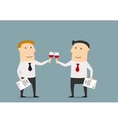 Businessmen celebrating the signing of contract vector image