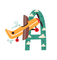 capital letter a english childish alphabet with vector image