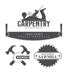 Carpentry woodworks sawmill emblem isolated on vector