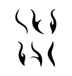 cartoon fire sparks silhouette set design vector image