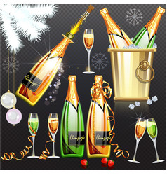 champagne holiday flat set on vector image