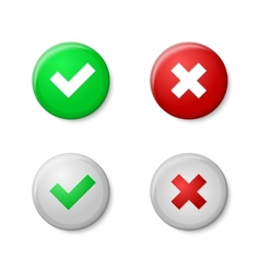 Check marks Realistic buttons style with gloss vector