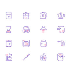 Collection of kitchen appliances icons vector