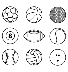 collection sport ball icon black outline vector image