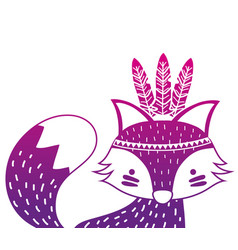 Color silhouette cute fox animal with feathers vector