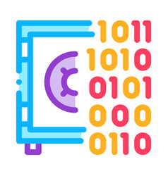 Computer hacking with binary code icon vector