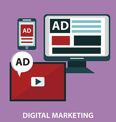 Concepts for video marketing digital marketing vector image