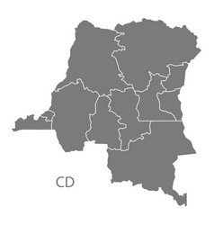 Congo democratic republic provinces map grey vector