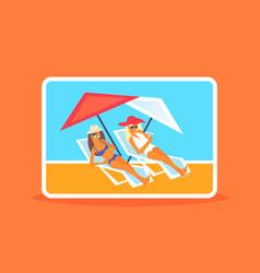 Couple bikini women sunbathing girls resting vector