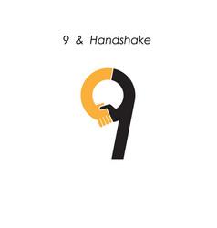 Creative 9- number icon abstract logo design vector