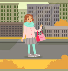 cute smiling girl in fashion clothes walking on a vector image