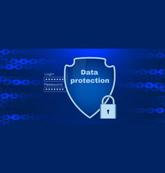 data protection theme with chain elements vector image