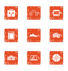 Director icons set grunge style vector