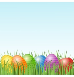 Easter card with eggs on green grass vector