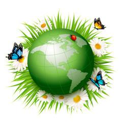 ecology conceptgreen globe and grass vector image