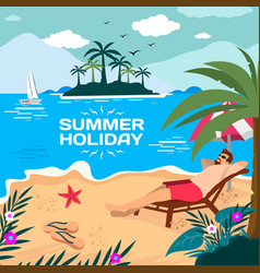 enjoy summer holiday in beach vector image