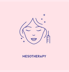 Face mesotherapy line icon hyaluronic acid facial vector