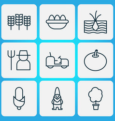 farm icons set with eggs corn soil and other vector image