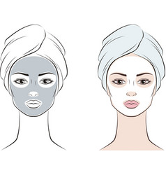 Female face with facial mask in towel vector