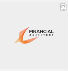 Financial architecture logo template line icon vector