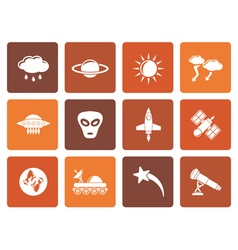 Flat Astronautics and Space and universe Icons vector
