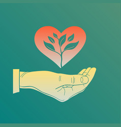 flat heart in hand a sprout vector image