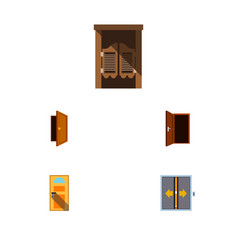 Flat icon approach set of approach entry lobby vector