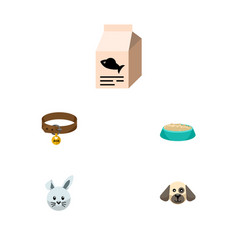 Flat icon pets set of fish nutrient hound vector