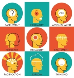 Flat line icons set human emotions icons Modern vector