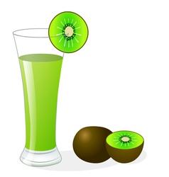 Fruit kiwi and glass juice vector