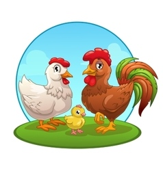 Funny cartoon chicken family vector