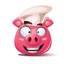Funny cute crazy pig icon cook smiley symbol vector
