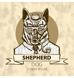 German Shepherd dressed up in suit fashion dog vector
